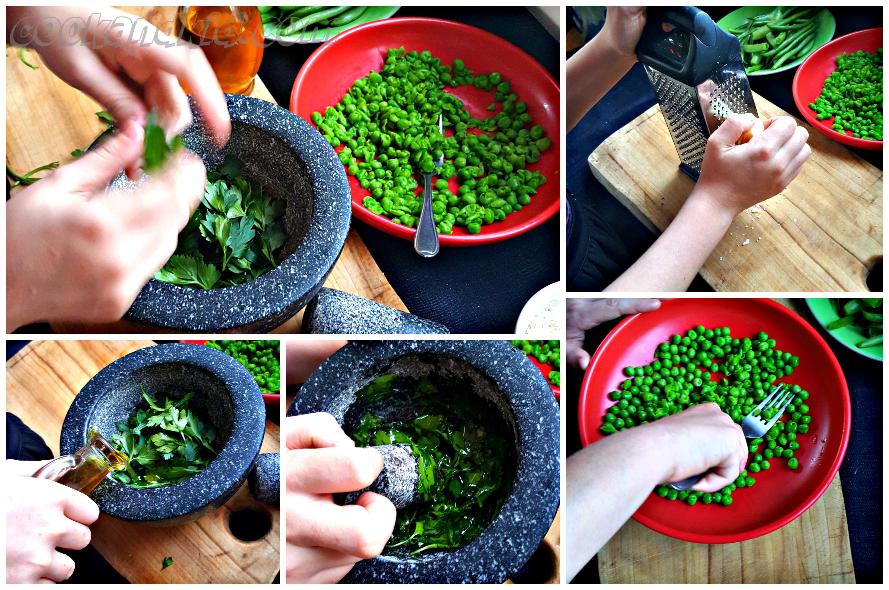 Kid keeps busy smooshing peas, picking herbs, cooking bacon, picking beans and more..