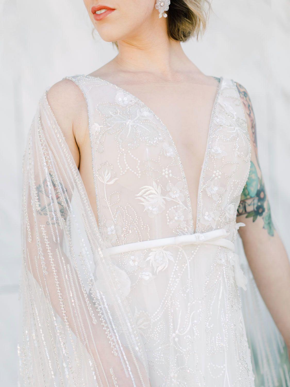 Neta Dover Camila A Luxury Wedding Dress With Cape Sleeves Cape Wedding Dress Luxury Wedding Dress Dresses [ 1500 x 1125 Pixel ]