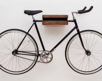 Wooden Bike Hook Black Walnut Bike Rack Wall
