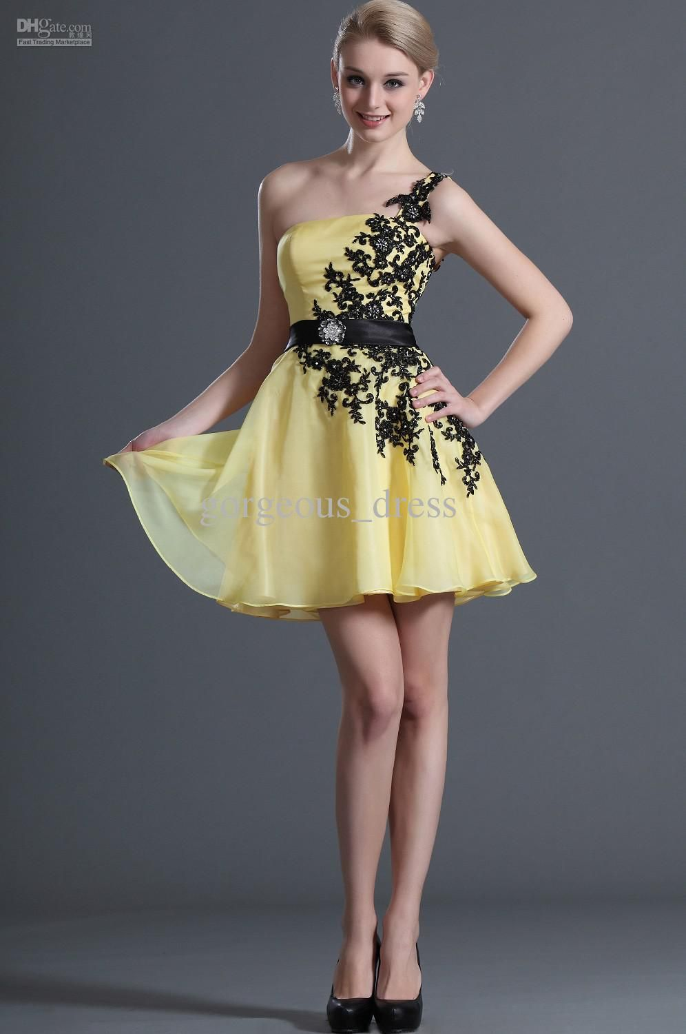 Cheap Tulle Sweetheart Cheap Yellow Cocktail Dress Ruffles ...
