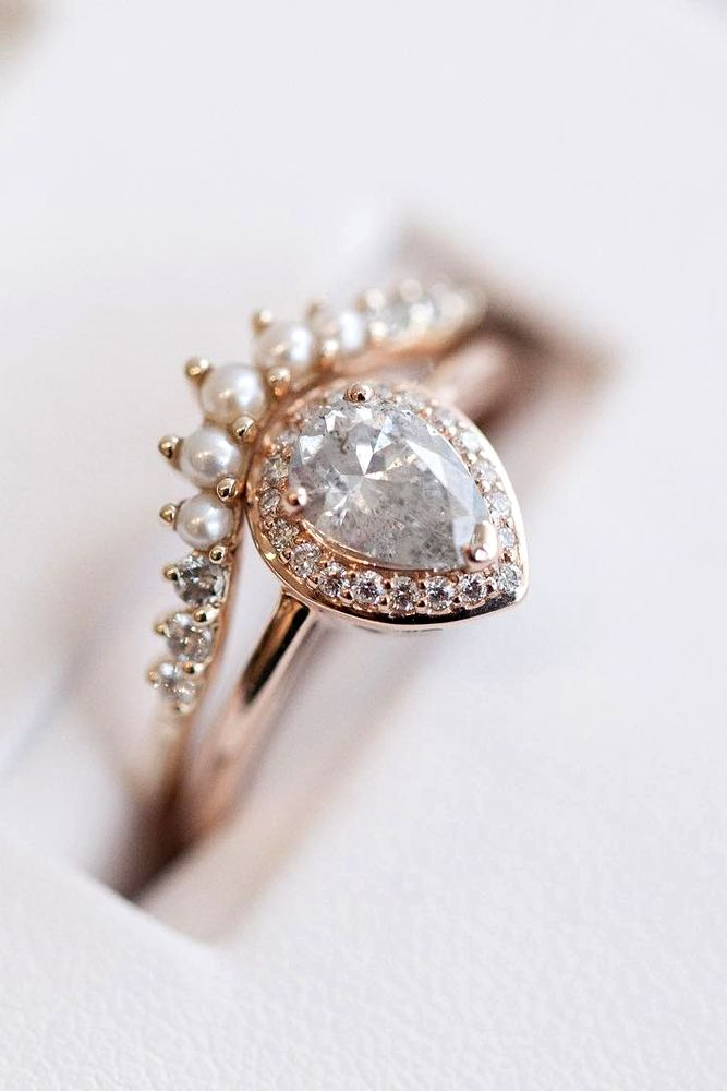 Pear Shaped Engagement Ring With A Pearl Crown Wedding Band