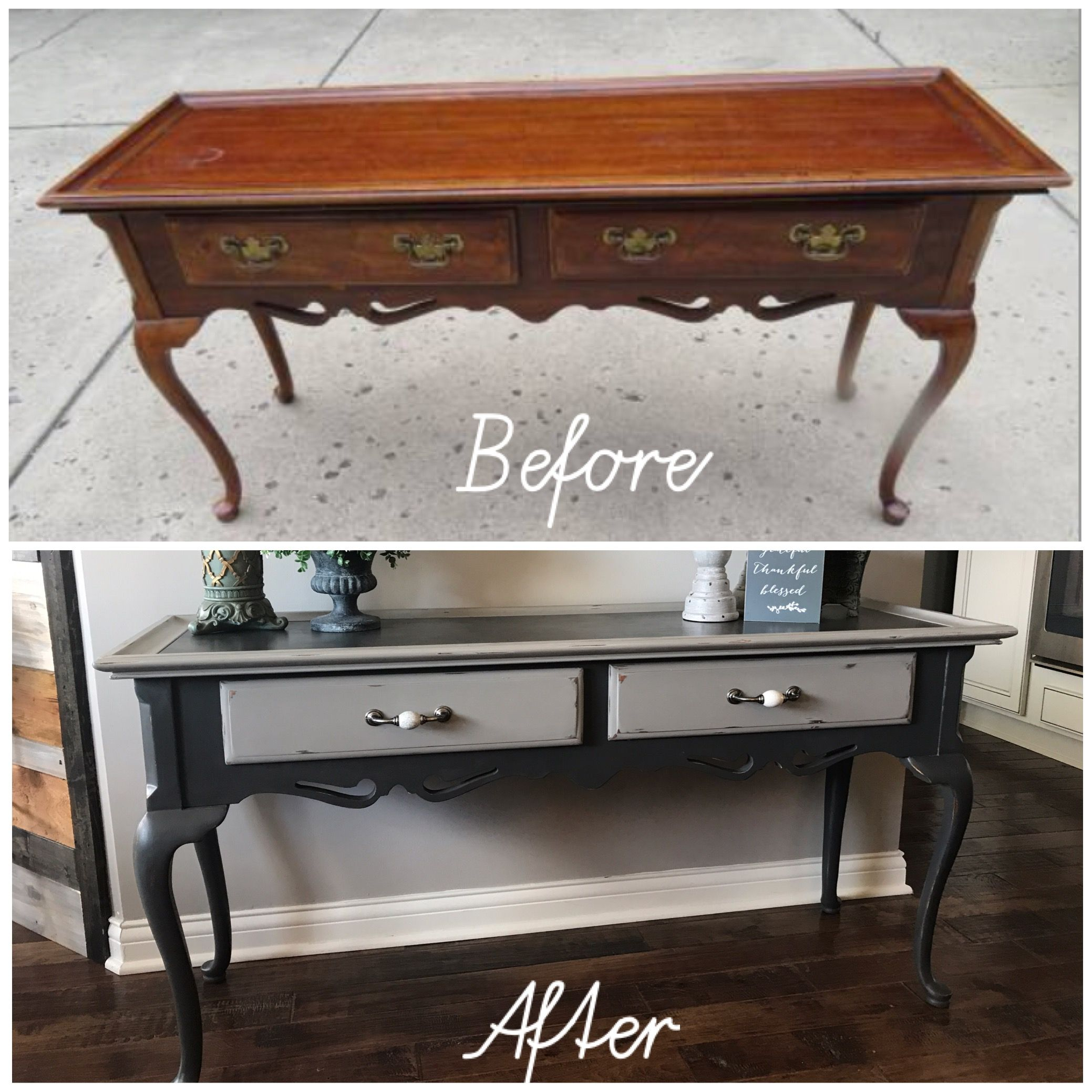 Before And After Queen Anne Sofa Table Buffet Diy Chalk Paint Painted Table Sofa Table Diy Chalk Paint