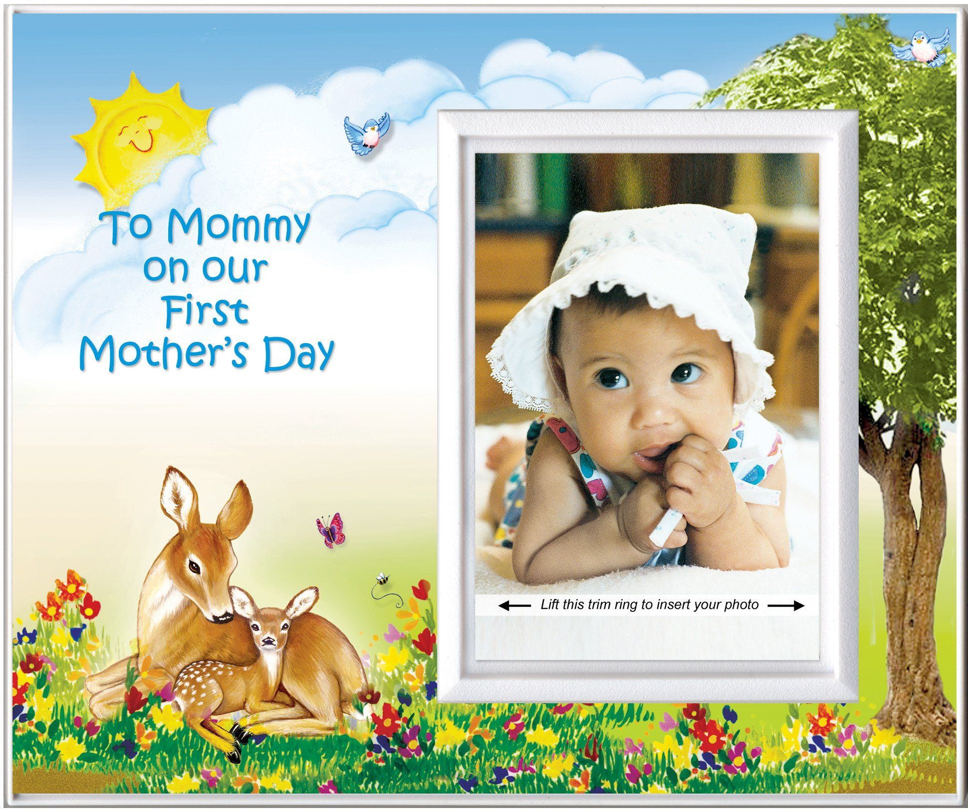 """To Mommy on Our First Mother's Day (Fawn) - Picture Frame Gift. Frame measures 8.25"""" wide x 7"""" tall and holds 3.5"""" x 5"""" photo. Frame body is made from polyresin. Graphic design is printed on textured cardstock. Frame has a built-in easel and slot for picture hook. Made 100% in USA."""