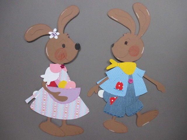 Fensterbild*Tonkarton*Hasenpaar MIA und BRUNO* Frühling*Ostern*Deko ...