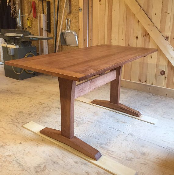 solid maple trestle table