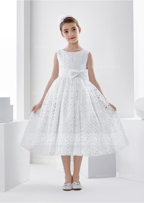 b7060e6bc9db Sleeveless Bateau Neck Tea Length Lace First Communion Dress with Bow
