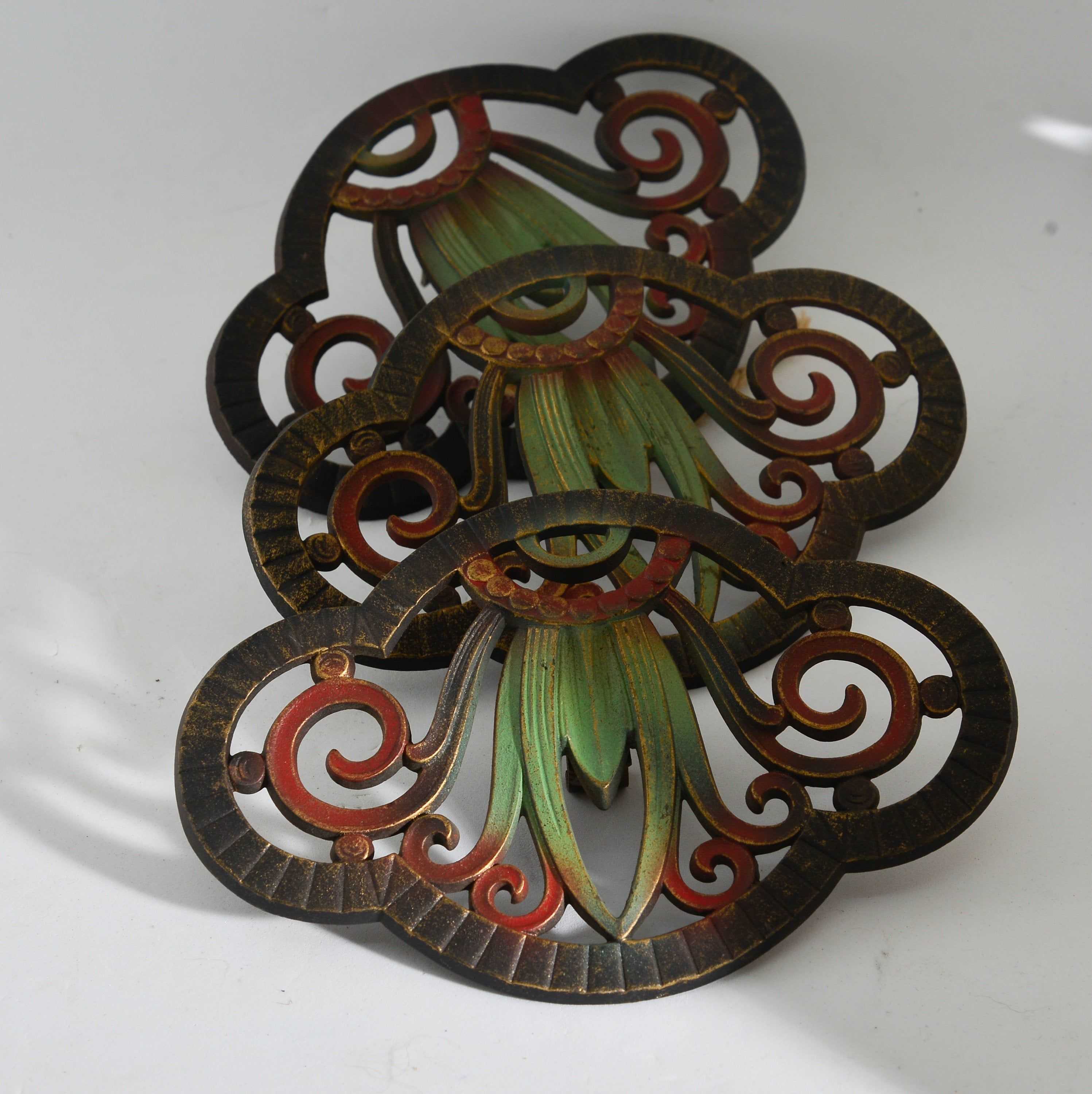 Stunning Judd Cast Iron Art Deco Art Nouveau Curtain Finials