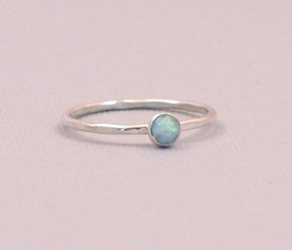 442f058d83297 Opal Stacking Ring, 4mm Opal Silver Ring, Hammered Silver Stack ...