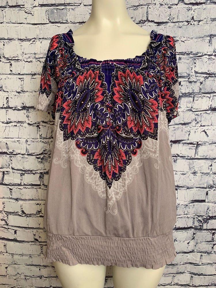 5b81706bc1f INC International Concepts 0X Multi Color Embellish Beige Shirt Short  Sleeve Top  INCInternationalConcepts  Top  Casual