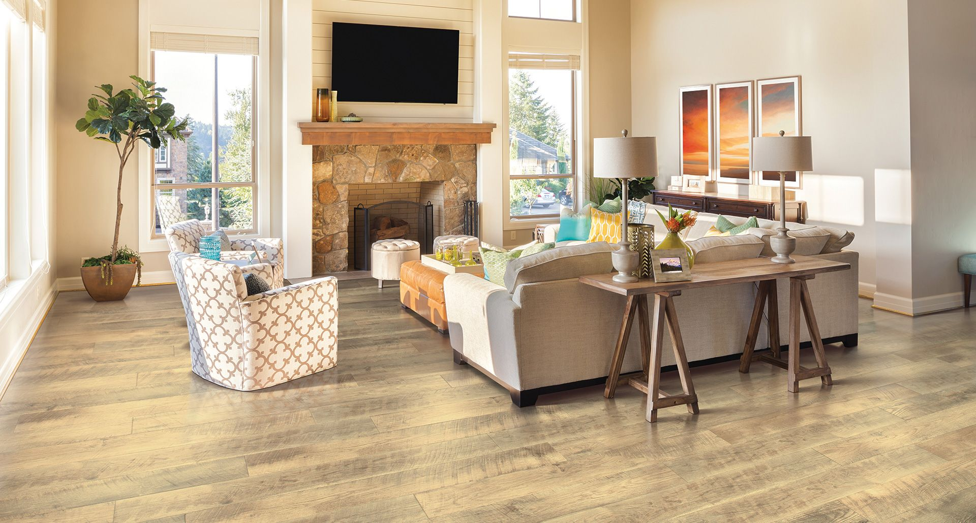 Floor Appealing Contemporary Living Room Applying Wood