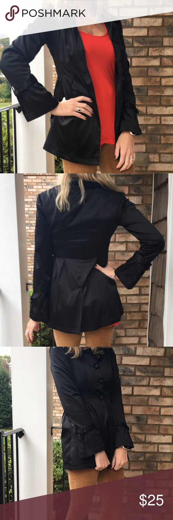 Black button down jacket In new condition with no rips or stains. I don't think it's ever been worn. Gorgeous tunic length jacket. Cotton/poly blend. Fully lined. Slight flair at the waist. Too tight for my C boobs when buttoned, but fits great when left open. Thanks for looking.💕 Belks Jackets & Coats Trench Coats