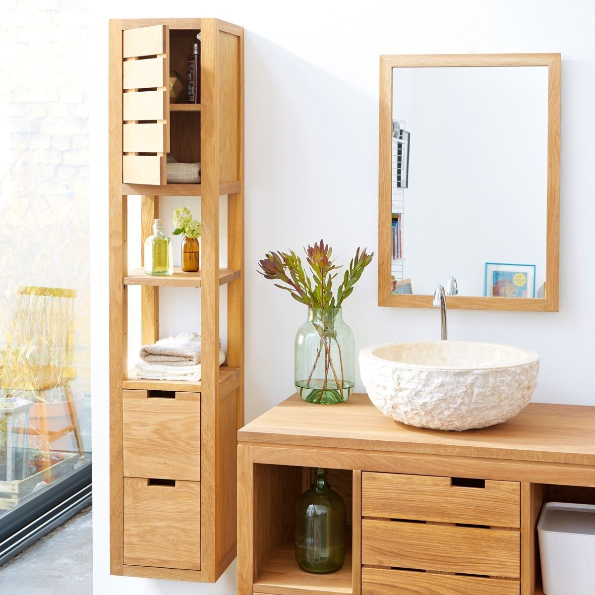 Colonne En Chene 30 Serena Oak In 2020 Teak Bathroom Living Room Lounge Furniture