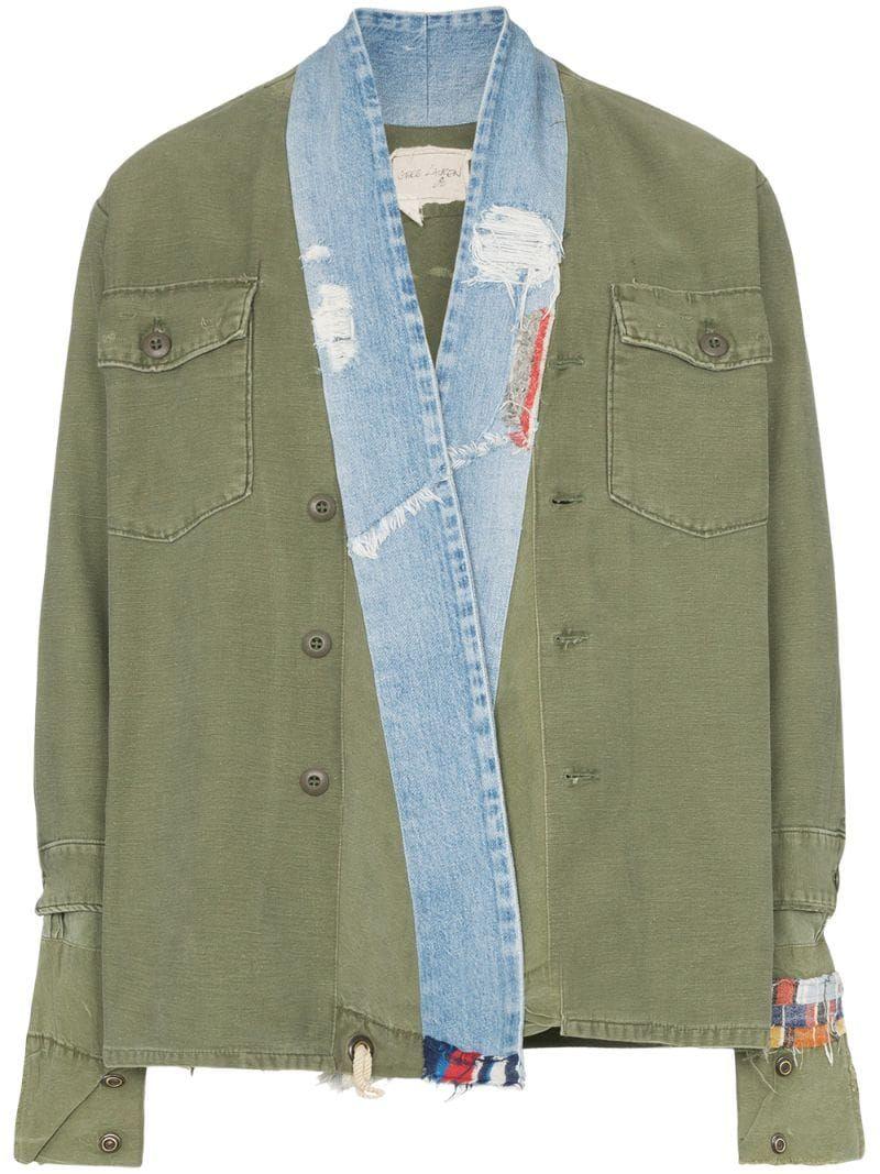 Greg Lauren contrasting denim collar military jacket Green