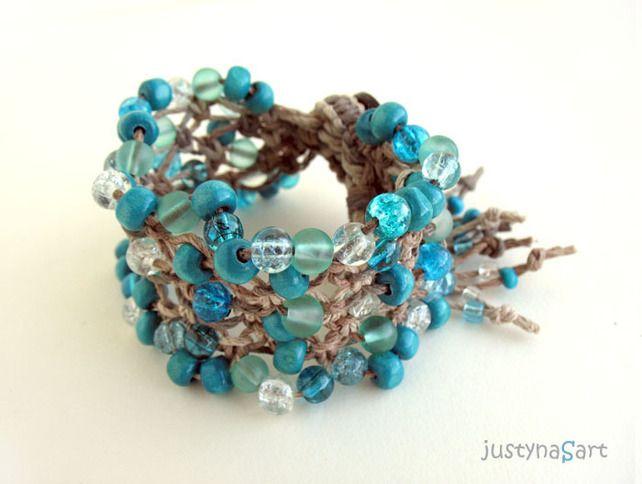 Turquoise Bracelet, Macrame Bracelet, Hemp Knotted Bracelet, Boho Style  £27.99