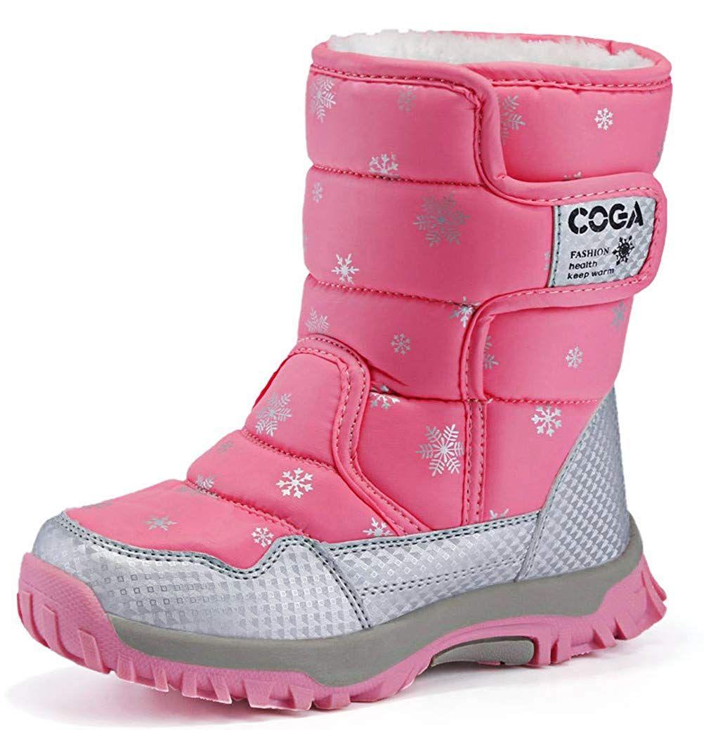 Purple Water Resistant Kids Hook /& Loop Fasten Girls Youth Snow Boots Size 11