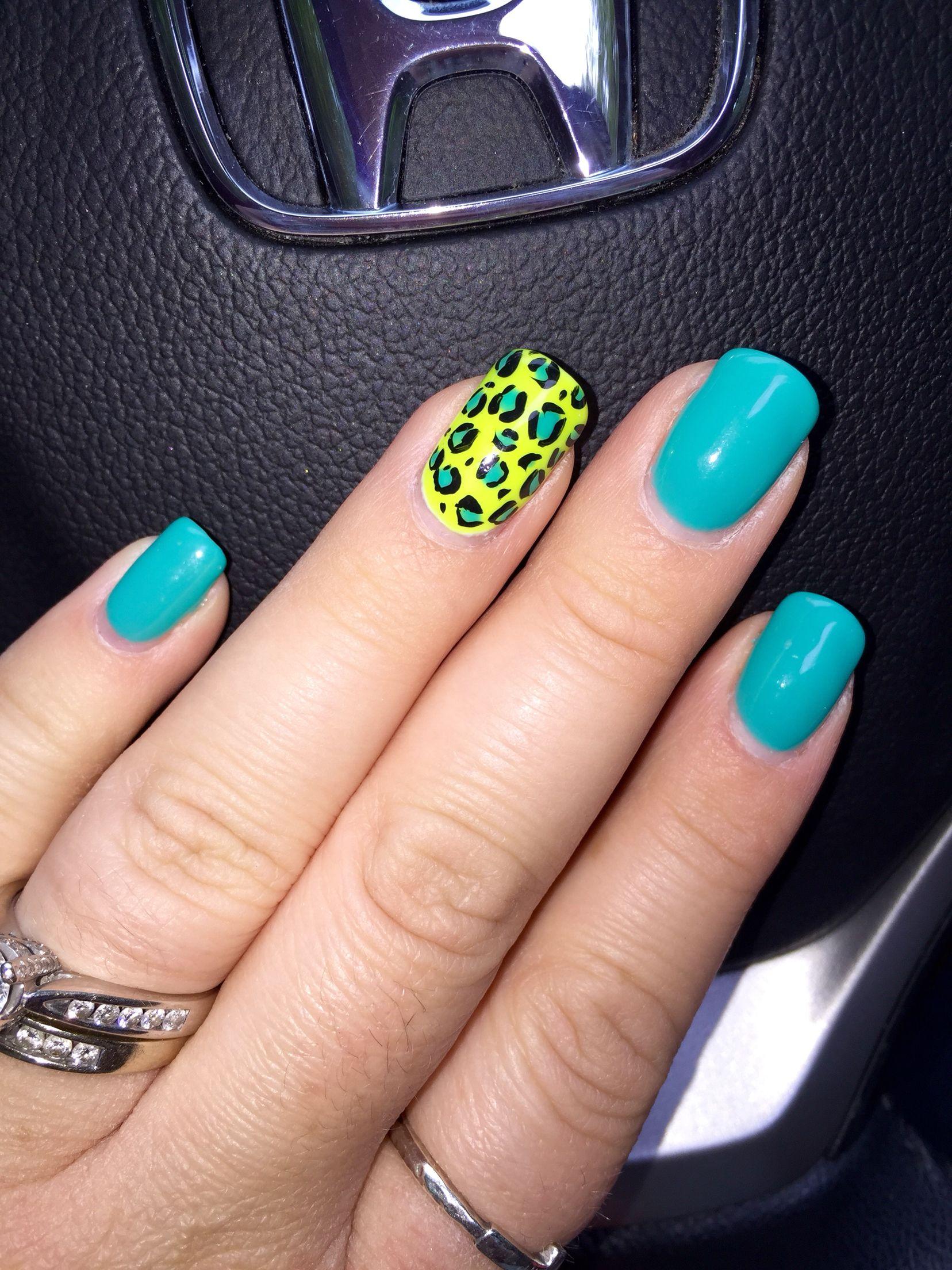 Cheetah nails, leopard nails art, turquoise nails, neon yellow nail ...