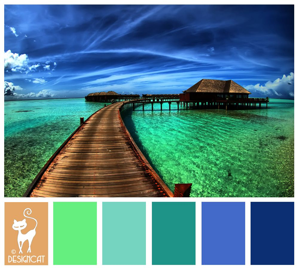 Bora Bora - Royal Blue, Teal, Pastel, Green, Sea, Sand, beach ...