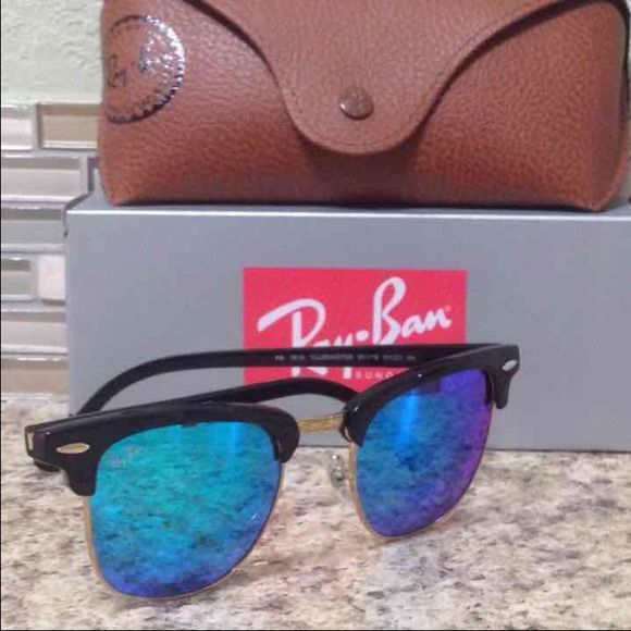 Authentic brand New Ray-ban Clubmaster 51mm Mirrored purple/blue Ray-ban clubmaster,comes with case,box and the cleaning cloth..very pretty sunglasses for this summer... No Trades Ray-Ban Accessories Glasses