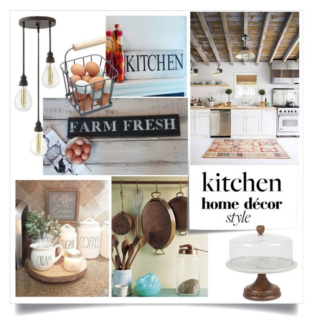 """""""Farm Kitchen"""" by theworldisatourfeet ❤ liked on Polyvore featuring interior, interiors, interior design, home, home decor, interior decorating, Post-It, GG Collection, Hinkley Lighting and kitchen"""