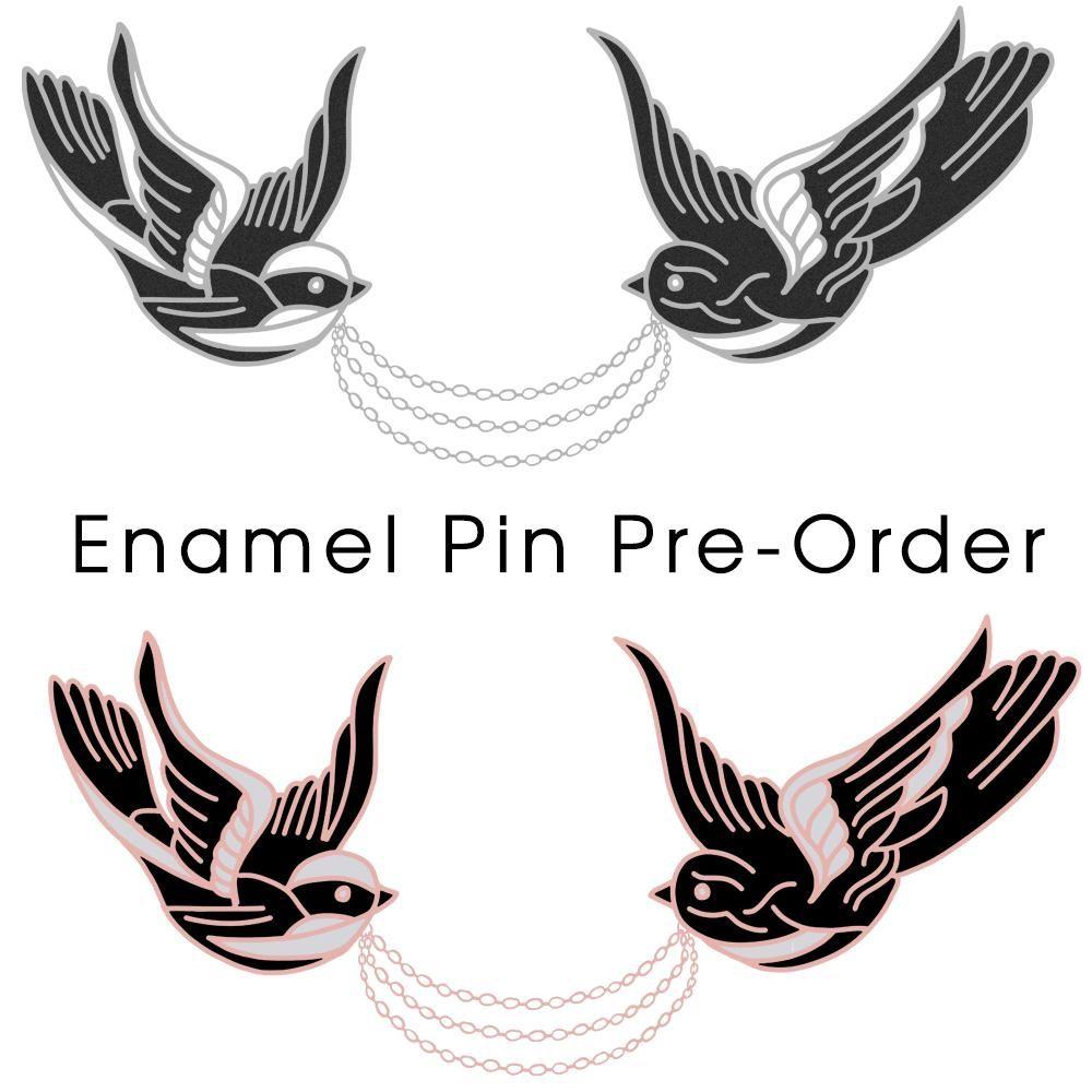 Birds dont have eyebrows enamel pin collar chain collar