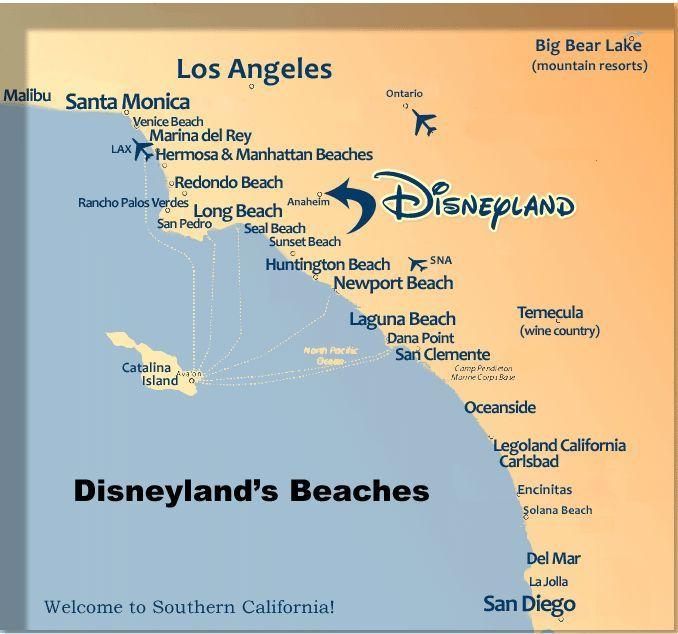 Map Of Anaheim Cal Hotels Alphabetical Beaches List Contact Us Site Beach Dining