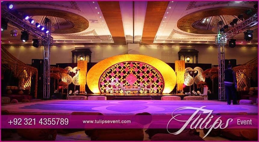 Beautiful Mehndi Decoration : Beautiful plum gold red mehndi setup pakistani stage
