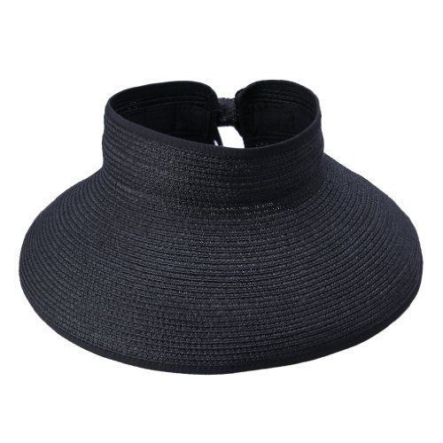 6f896a042d618 JTC Women Straw Sun Hat Adjustable Beach Cap Roll up Velcro Open Top Cap  Visor  8.53 (45% OFF)