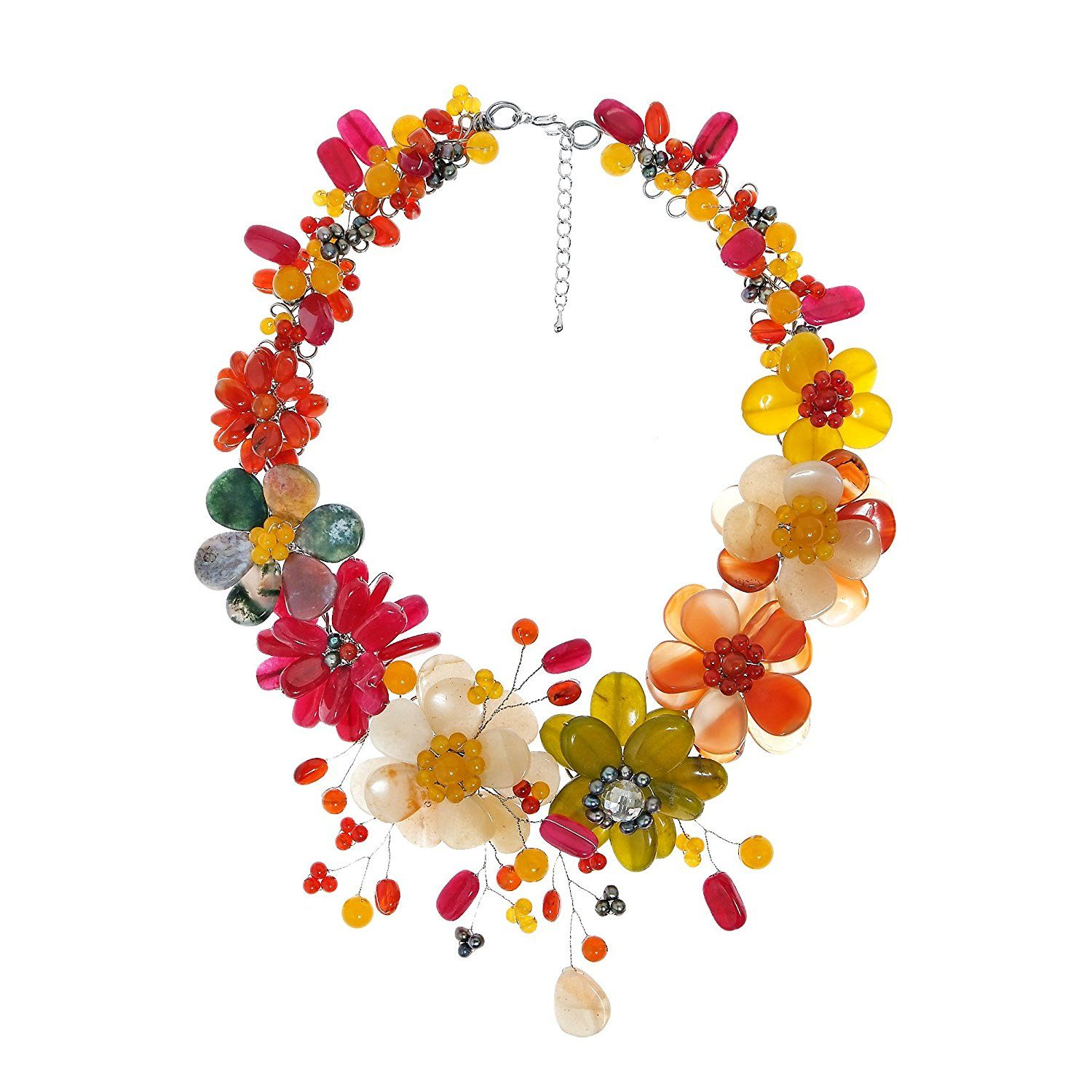 Colorful Blossoms Floral Garland Mix Stone Necklace