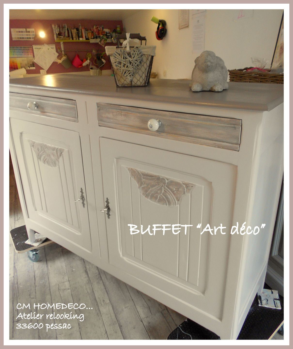 Grand Buffet Art D Co En Noyer Relook Tradition Campagne Chic  # Meuble Tv Rustique Relookee