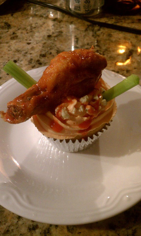 Super Bowl Style Cupcakes:  Cornbread, cream cheese, blue cheese, topped with Franks Red Hot, celery and a buffalo wing.