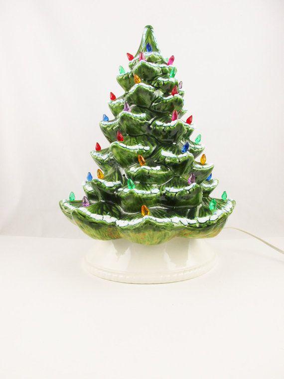 Ceramic Christmas Tree - Blue-tinged White Snow on Green Tree