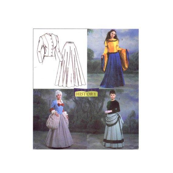 Medieval Victorian Renaissance Dress Costumes Butterick 4154 Sewing ...