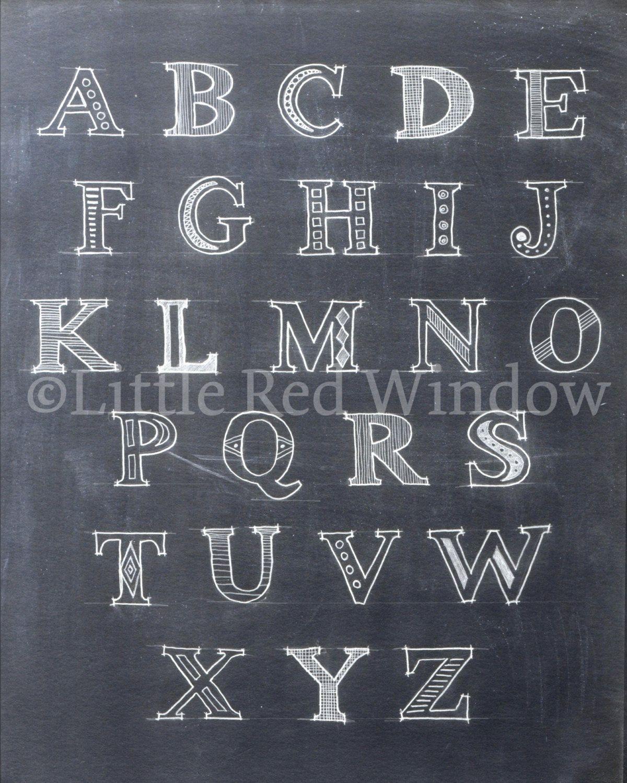 printable alphabet chalkboard print 8 x 10 by