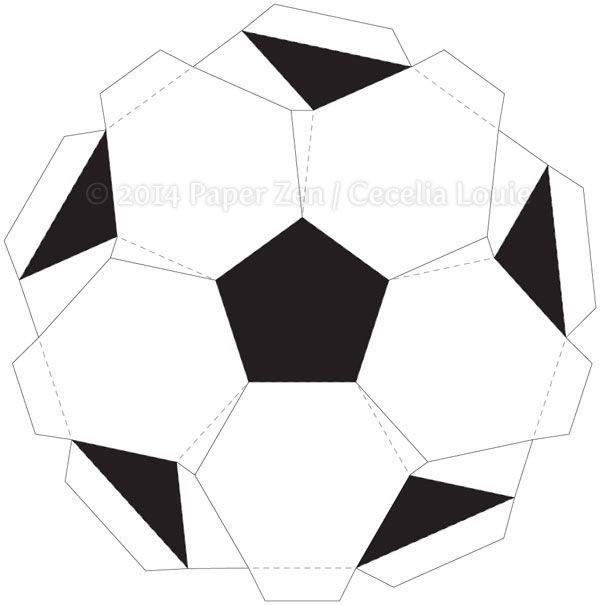 Paper Zen 3D Soccer Ball Birthday Card Template Paper crafts