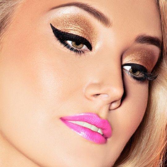maquillaje ojos negros y labios rosa buscar con google