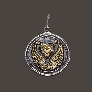 Waxing Poetic Wings & Heart Charm - #gifts, #jewelry, #necklace