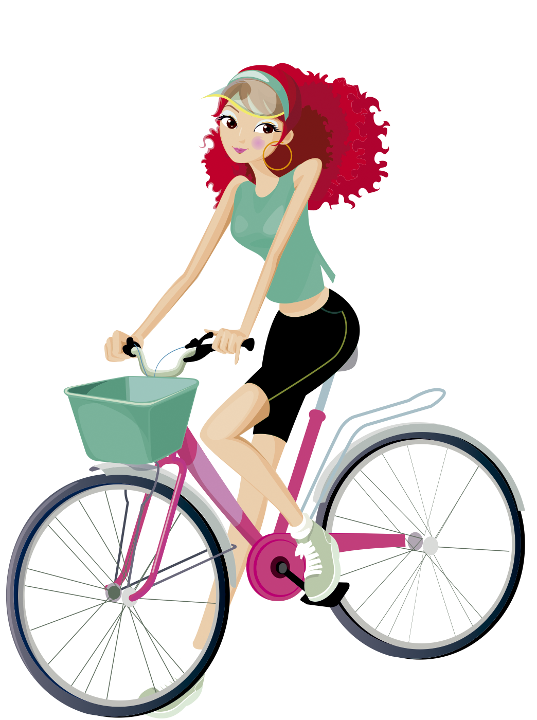 Mujer Pelirroja En Bicicleta Muñecas En Bicicletas Ilustración De Bicicleta Dibujos De Ciclismo