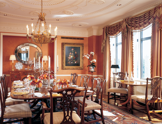 the dining room has two tables: a circa-1800 english george iii