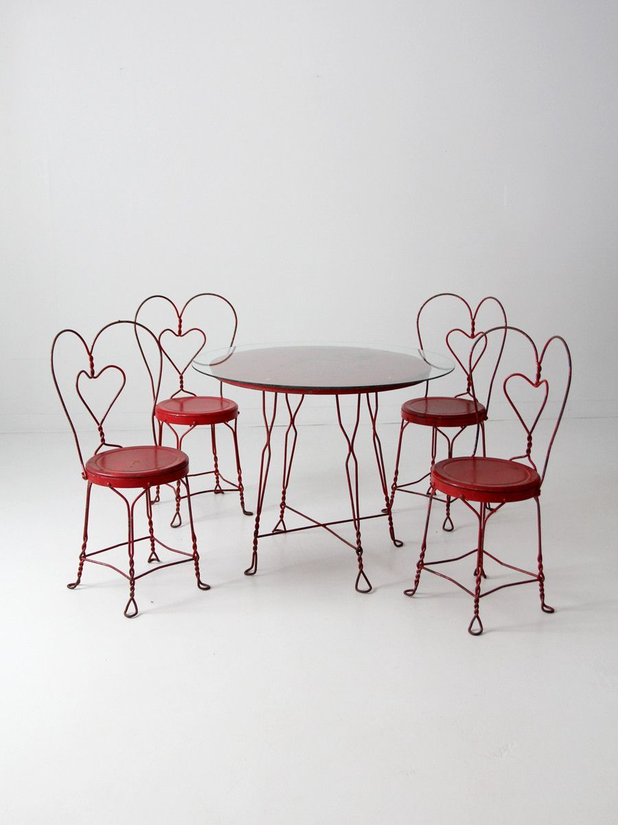 Iron Table And Chairs Set Vintage Ice Cream Parlor Table And Chair Set Table And Chairs