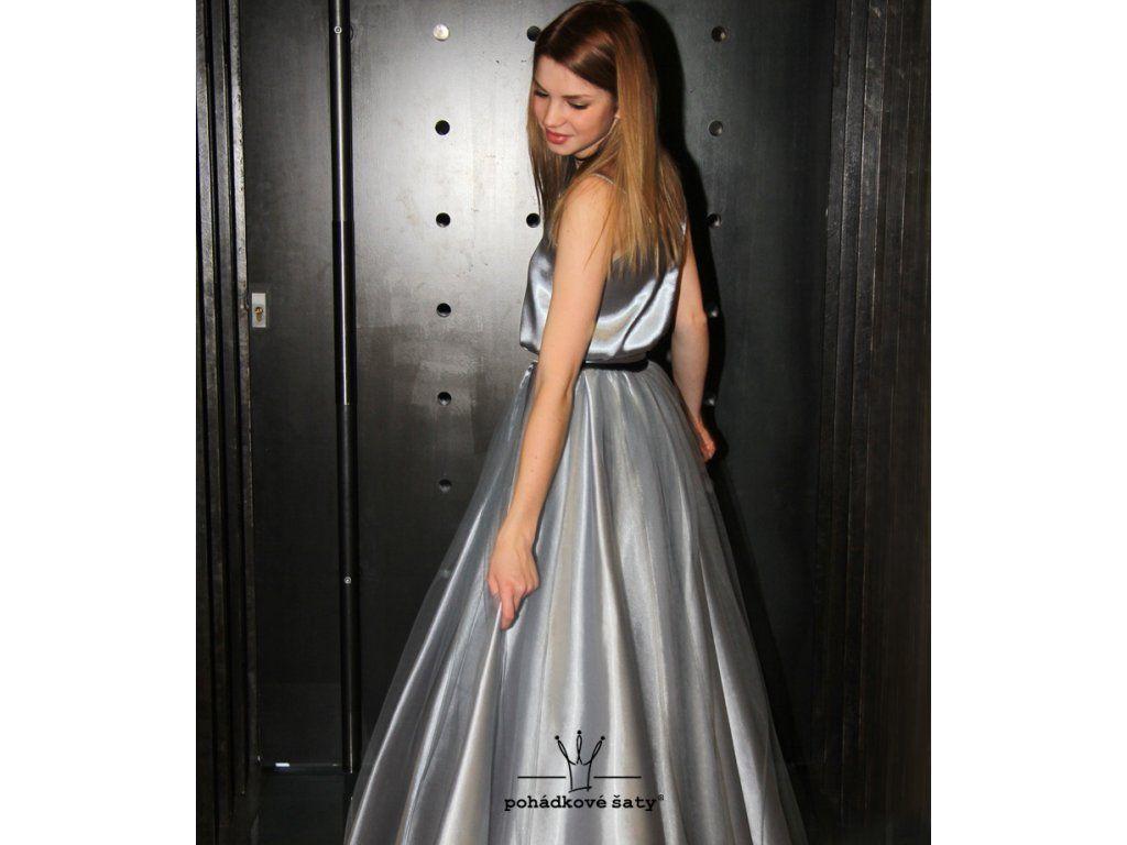 Dívčí a dámské společenské šaty - stříbrný saténový top a dlouhá sukně s  tylem. Cena b21c668d4c3