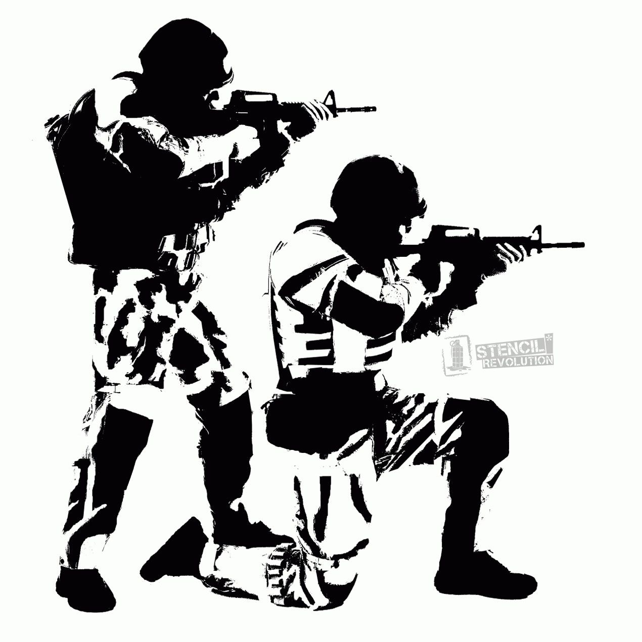 Soldier Army WAR AIRRUSH Painting Wall Stencil 2