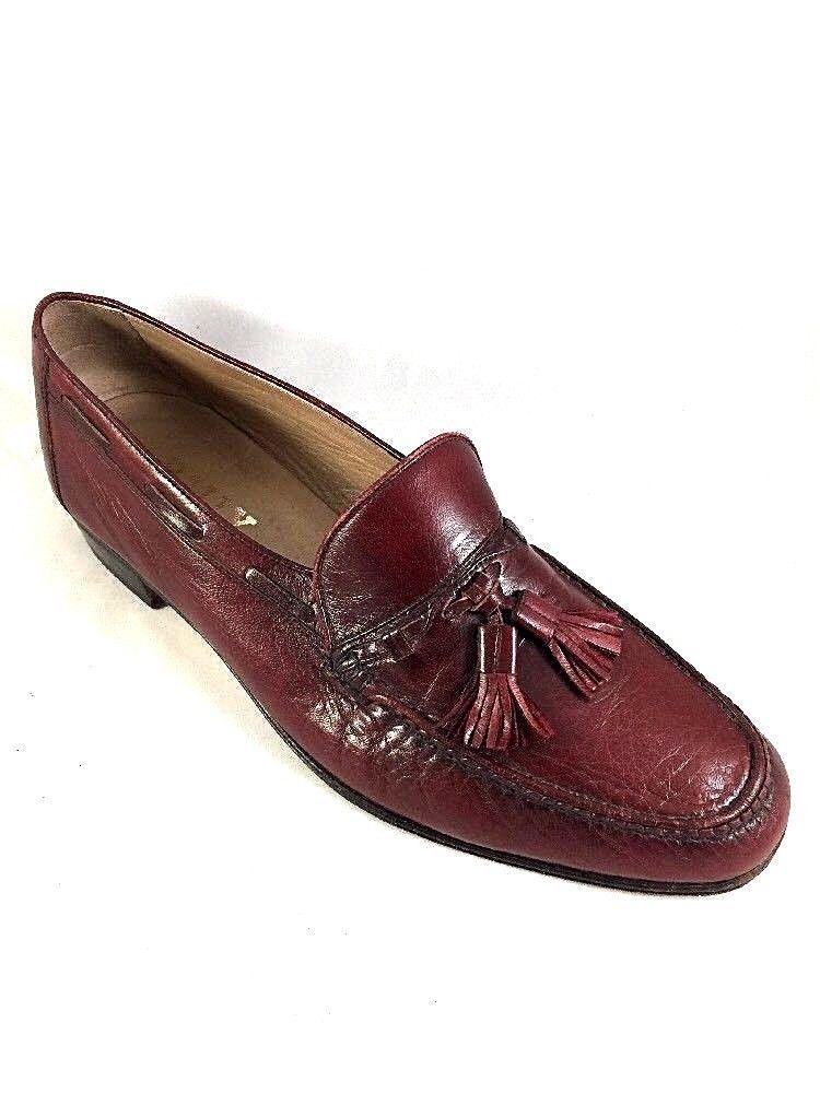 Mens Bally Burgundy Leather Loafers Tassel Dress Slip On Shoes 9.5 M