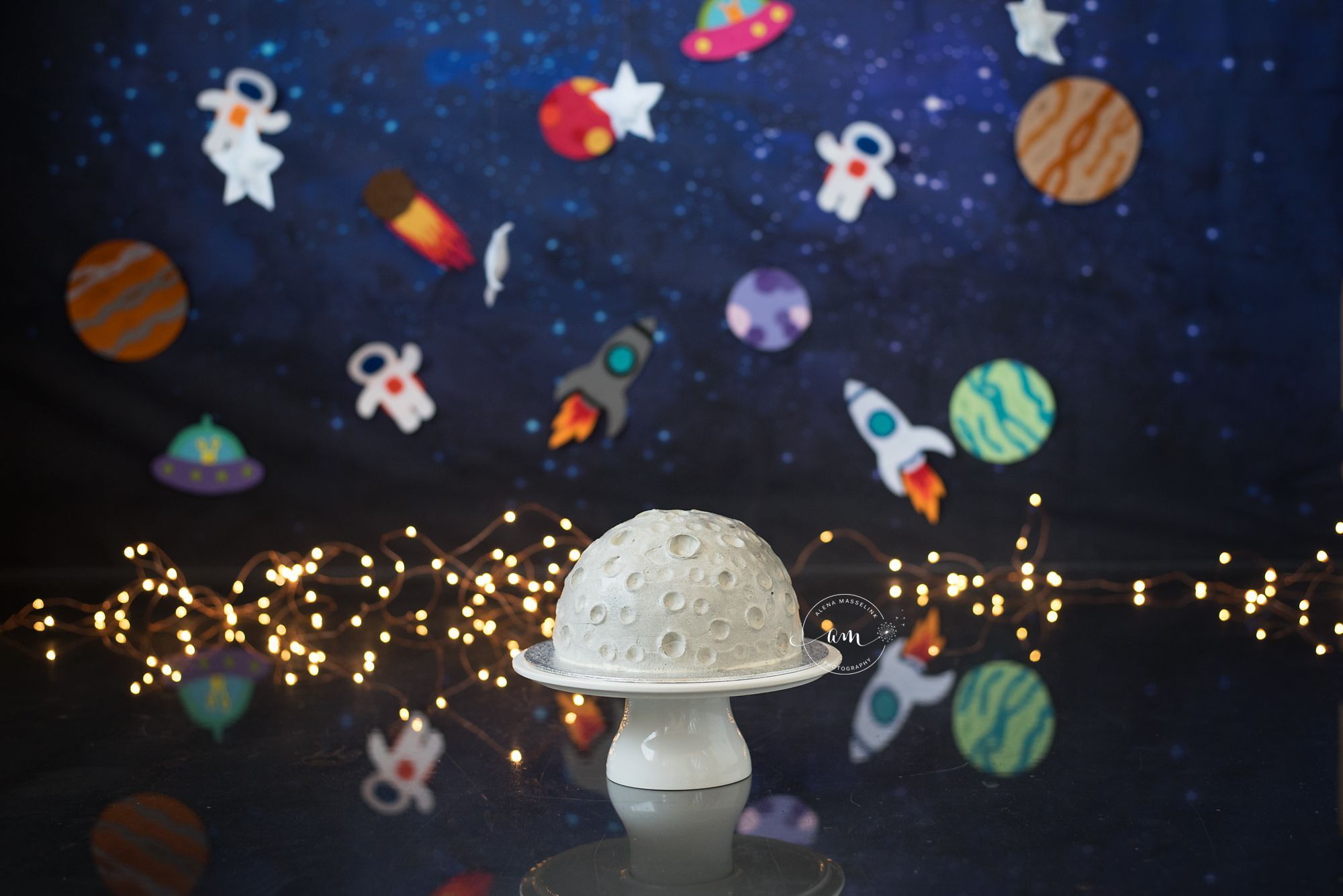Space Themed Cake Smash Spacethemeoutfit Space Themed Cake Smash With Moon Cake Diy Decorations Planets Grad Party Decorations Cake Smash Astronaut Birthday