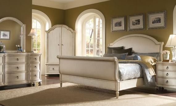Distressed Ivory White King Bed | Provenance Sleigh Bedroom Set In  Distressed Ivory