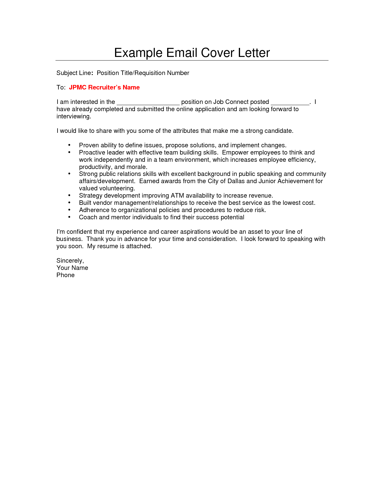 simple email cover letter examples