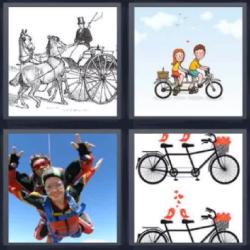 4 fotos 1 Palabra: bicicletas dobles Carruaje de caballos