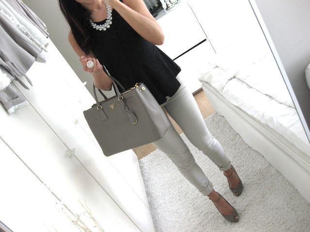 B&W: black peplum top, light pants, and neutral heels