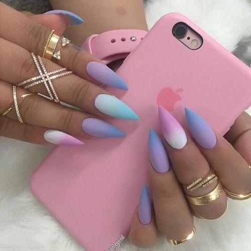 nails pink rainbow ombre goals