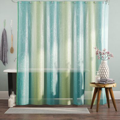 Bungalow Rose Dismuke Striped Shower Curtain Color Ombre Blue And Green