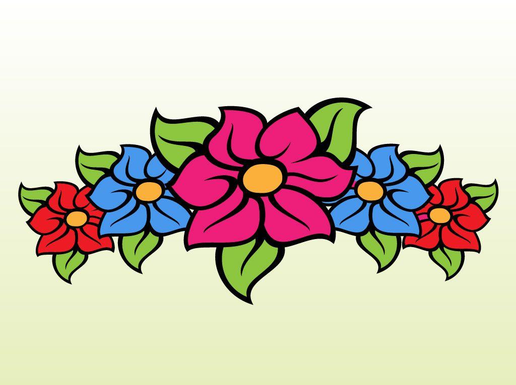 Cartoon flowers clip art floral band cartoon clip art for Drawings of cartoon flowers